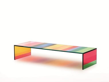 Low rectangular crystal coffee table THE DARK SIDE OF THE MOON