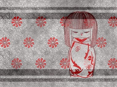 Oriental wallpaper, PVC free, eco, washable THE KOKESHI DOLL