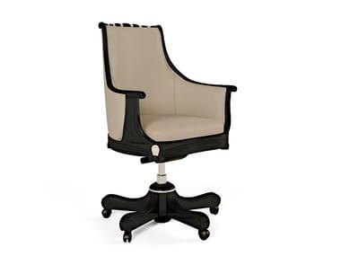 Sedia in pelle a 5 razze ad altezza regolabile con ruote THE MAJESTIC | Sedia con ruote