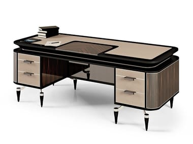 Lacquered ebony writing desk with drawers THE MAJESTIC | Writing desk