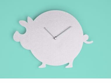 Wall-mounted aluminium clock THE PIG