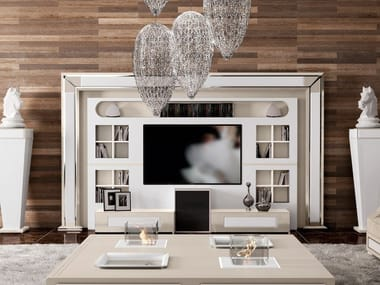 Lacquered TV wall system with integrated lighting DESIRE THE WALL