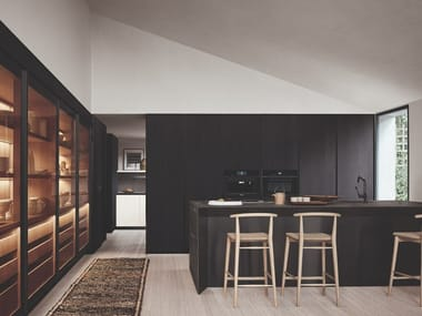 Kitchen with peninsula THEA - FRAME DOORS SYSTEM