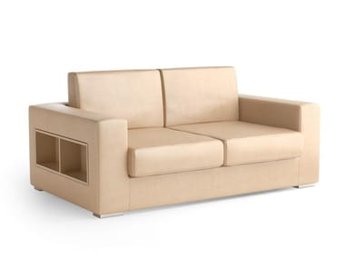 Contemporary style 2 seater upholstered leather sofa with integrated magazine rack THECA | 2 seater sofa