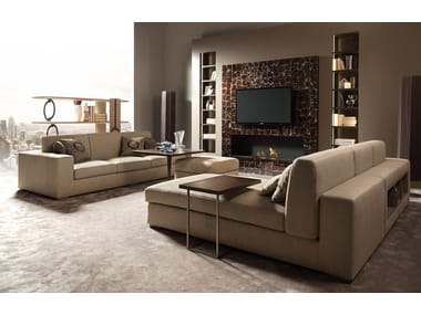 Sectional upholstered sofa with integrated magazine rack THECA | Sectional sofa