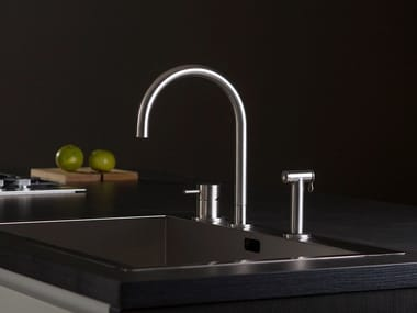 Stainless steel kitchen mixer tap with spray THREE | 3 hole kitchen mixer tap