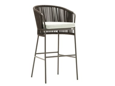High powder coated aluminium garden stool TIBIDABO | High stool