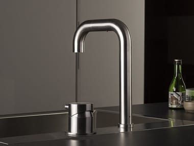Stainless steel kitchen mixer tap with pull out spray TIDE OVER | 2 hole kitchen mixer tap