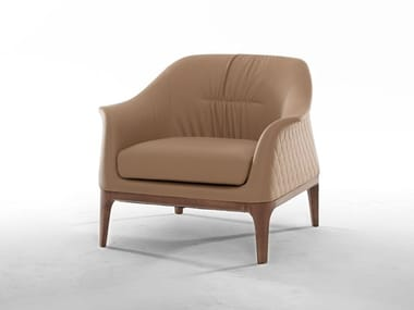 Upholstered leather armchair with armrests TIFFANY | Armchair