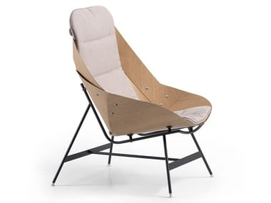 High-back wood veneer armchair TIME - 53A / 53B