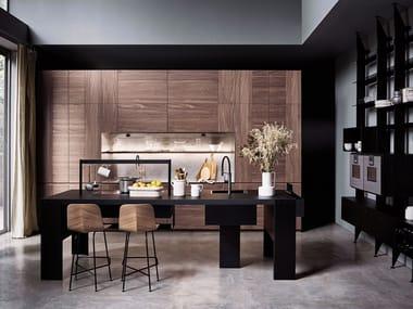 Steel and wood kitchen with island INTARSIO - TIME BRIDGE