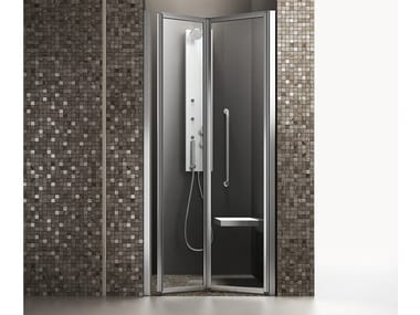 Douche accessible en niche à portes pliantes TIME | Douche accessible en niche