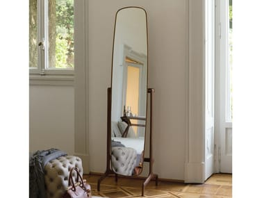 Tilting freestanding walnut mirror TIMOTHY