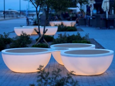Backless teak Bench with Integrated Lighting TIMPAN-VINT