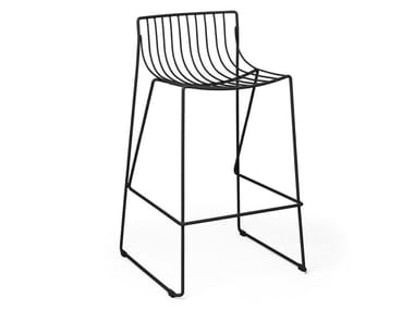 Stackable bar stool in steel wire TIO | High stool