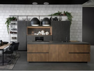 Steel and wood kitchen with island TIO