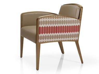 Cadeira lounge de pele com braços TISHA   Cadeira lounge