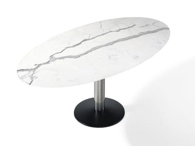 Extending oval natural stone dining table TITAN | Natural stone table