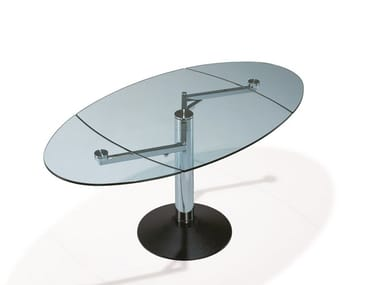 Extending oval glass dining table TITAN | Glass table