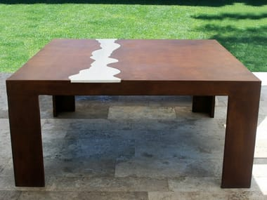 Square Corten™ garden table TIVOLI
