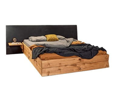 Solid wood double bed with high headboard TM 01