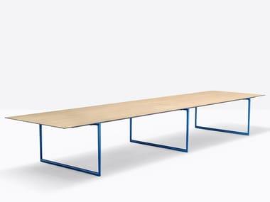 Tavolo da riunione rettangolare in alluminio e legno TOA TOA2