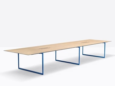 Aluminium and wood meeting table with cable management TOA TOA2 CC