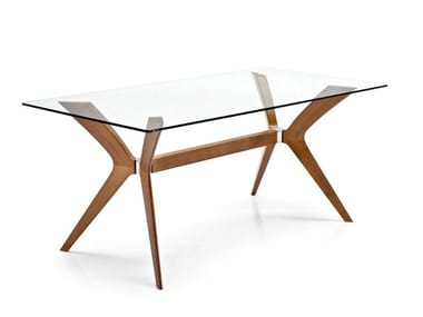 Rectangular wood and glass table TOKYO | Rectangular table