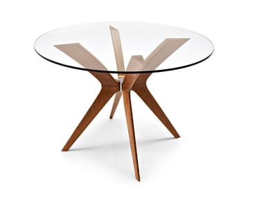 Round wood and glass table TOKYO | Round table