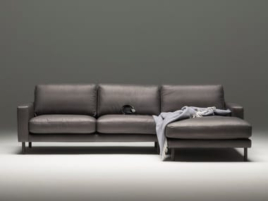 3 seater leather sofa with chaise longue TOM