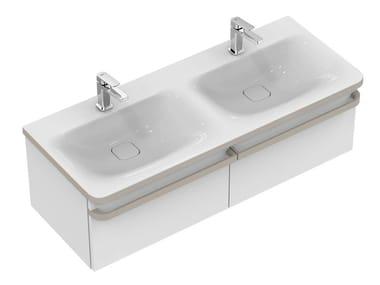 Double wall-mounted vanity unit with drawers TONIC II 120 cm - R4305