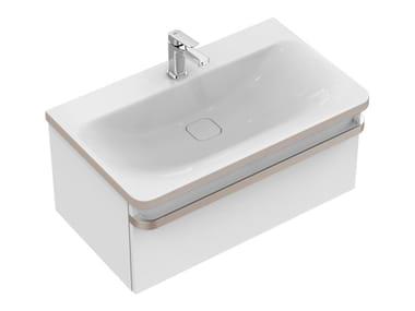 Meuble sous-vasque simple suspendu avec tiroirs TONIC II 80 cm - R4303