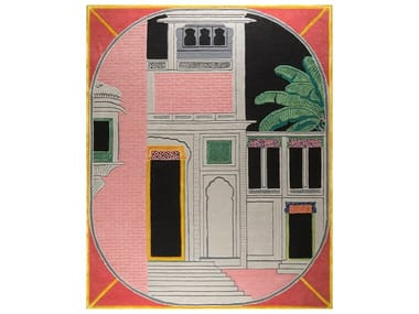 Handmade rectangular rug THE PINK BUILDING
