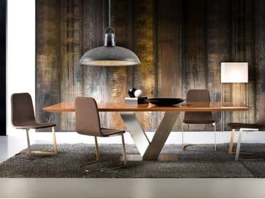 Rectangular walnut table and steel base TOTÒ