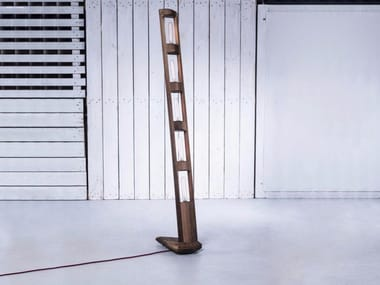 Handmade wooden floor lamp TOTEM