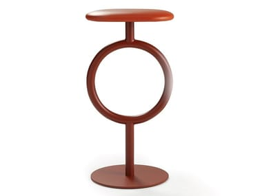 Steel and leather stool with footrest TOTEM | Leather stool