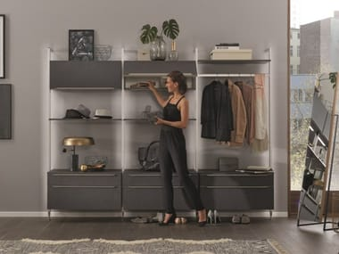Sectional lacquered wall-mounted wooden hallway unit TOUCH 334