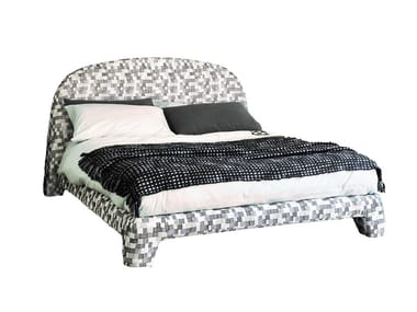 Fabric double bed with upholstered headboard TOUCH