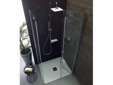Box doccia angolare con porta a soffietto TPS35 + TELF | Box doccia angolare