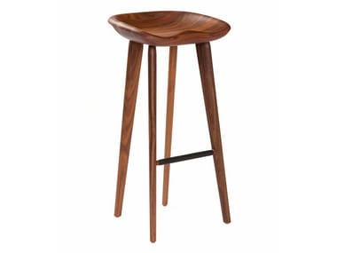 Solid wood barstool with footrest TRACTOR | Barstool