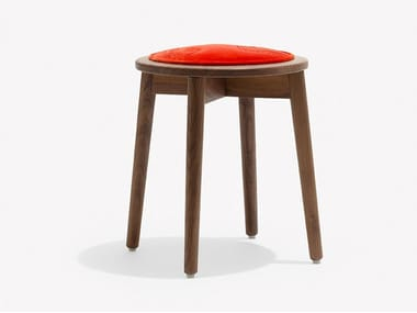 Low upholstered cotton and walnut stool TRANQUEBAR | Walnut stool