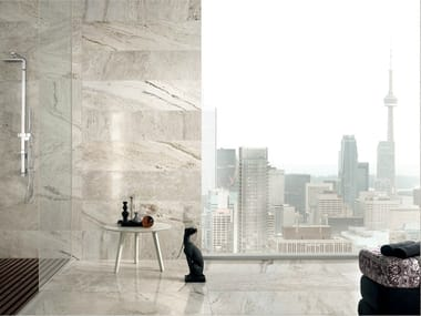 Porcelain stoneware wall/floor tiles with travertine effect TRAVERT GRIGIO