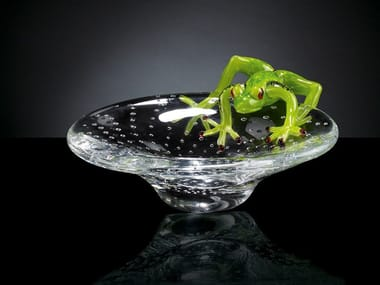 Glass centerpiece TRAY WITH FROG