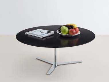 Low oval MDF coffee table TRE 90