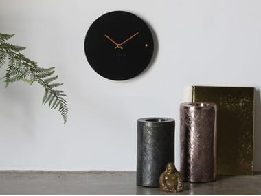Wall-mounted wooden clock TRE BLACK COPPER SMALL