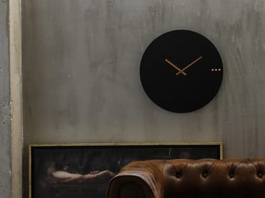 Wall-mounted wooden clock TRE BLACK COPPER