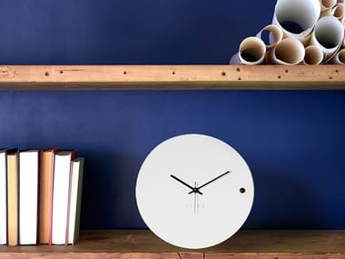 Table-top wall-mounted wooden clock TRE SMALL WHITE