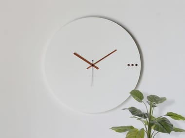 Wall-mounted wooden clock TRE WHITE COPPER