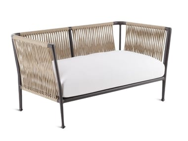 Sofá de jardín de tejido sintético con funda extraíble TREBLE | Sofá de jardín