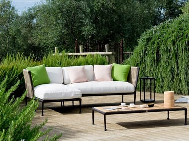 Sofá de jardín composable de tejido sintético con funda extraíble TREBLE | Sofá de jardín composable